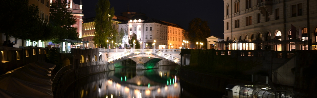 The Triple Bridge (Tromostovje) connects the medieval part of Ljubljana (right) with the outer banks (left). This happens to be my home city.